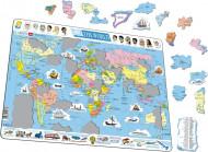 LARSEN puzzle Pasaules karte, K1-EE/K1-LE
