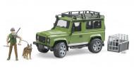 BRUDER Land Rover Defender universālis ar mežsargu un suni, 02587 02587