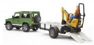 BRUDER Land Rover ar piekabi minu ekskavatoru un darbinieku, 2593 2593
