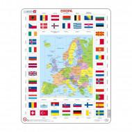 LARSEN puzzle Eiropas karte + karogi, KL1LV KL1LV