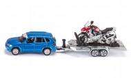 SIKU automašīna ar motociklu pārvadājamo piekabi 2547