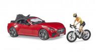 BRUDER Roadster ar 1 ceļa velosipēdu un velosipēdistu, 03485 03485